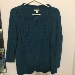 Teal 1X cropped 3/4 sleeve cardigan